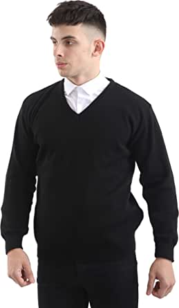 Brooklyn Clothing Mens V Neck Jumpers Soft Feel Acrylic Classic Fit Sweater Long Sleeve Casual Top