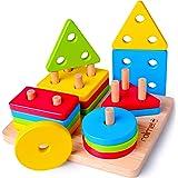 Rolimate Juguetes para Niños Pequeños Apilador Geométrico De Madera, Stack & Sort Board Tablero para Apilar y Clasificar, Jug