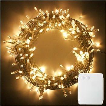 100 White Led Battery Operated Christmas Lights Amazon Co Uk