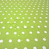 Werthers Stoffe Stoff Meterware wasserdicht Punkte grün hellgrün weiß Regenjacke 6 mm