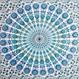 Future Handmade Twin Size Indian Handmade Psychedelic Ombre Mandala Tapestry Living Home Decor Picnic Beach Blanket Yoga Mat Wall Hanging Hippies Tapestry 100% Cotton Room Decor Bedspread