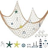 Filet de Pêche Décoratif Filet de Pêche Nautique Décor Murale, 8 Étoile de Mer, Voilier, Phare, Bouée de Sauvetage, Gouvernai