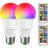 Colour Changing Light Bulb, Warm White + Cool White + RGB Colours, E27 9W Dimmable LED Light Bulbs with Remote Control, Ediso