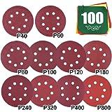 Schuurpapier 100 stuks, 125 mm schuurschijven klittenband gesorteerd 40-800 korrel, schuurbladen schuurschijf klittenband vel