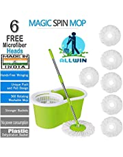 ALLWIN Mop Floor Cleaner with Bucket Set Offer with Big Wheels for Best 360 Degree Easy Magic Cleaning, Green with 6 Microfiber