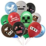 """Giant 24 Pack of Pixel Miner Crafting Style Gamer Party Balloons - Large 12"""" Latex Balloon - Gamer Birthday Party..."""