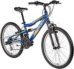 Vollgefedertes Kinderfahrrad Fully 24'' Mountainbike mit 21 Gängen Fahrrad MTB Hillside 21 Gang Seitenständer, Federung von & hinten