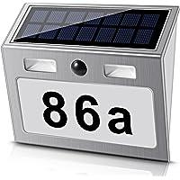Solar beleuchtete Hausnummer mit 7 LEDs, ECHTPower Solar Hausnummer Solar Hausnummerleuchte mit Dämmerungsschalter…