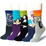 Damen Herren Lustige Bunte Baumwolle Socken Frauen Süß Berühmtes Gemälde Kunst Crew Socken 5 Paar