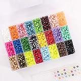 Vaessen creative Perles à Repasser, Mélange de 24 couleurs, 5000 pièces dans une Boîte de Rangement, Parfait pour Loisirs Cré