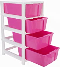 Joyful Studio 4 Plastic Modular Drawer System, Pink Colour by DFO (Dimension 310 * 390 * 675 MM as per Lable from manufaturer on The Product Packing)