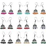 Waama Jewels Combo of 9 Multicolor Silver Jhumkis Combination Earrings For Women