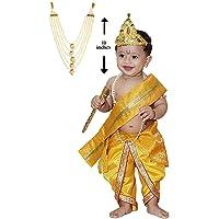 Raj Fancy Dresses Baby Krishna Brocade Fabric Janmashtami Mythological Character Costume