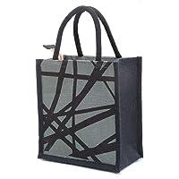 H&B Men's Printed Jute Tiffin Bag with Zip (Grey, Medium)