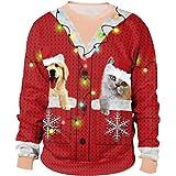 ODOKEI Unisex Felpa Natale Senza Cappuccio Funny 3D Christmas Maglioni Natalizi Stampato Pullover T-Shirt Maglione Natalizio