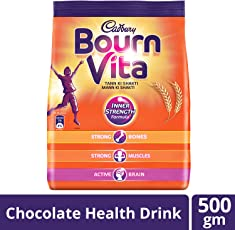 Cadbury Bournvita Chocolate Health Drink, 500 gm Pouch