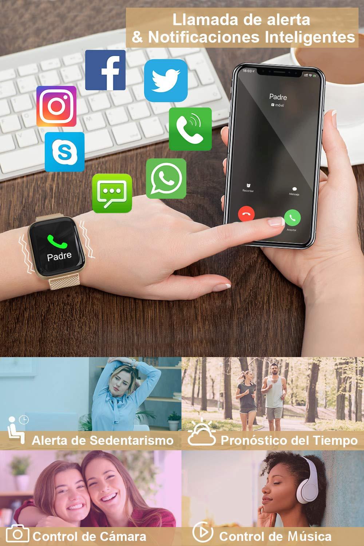 BANLVS Smartwatch, 1.4 Inch Reloj Inteligente IP67 con Pulsómetro Presión Arterial, Monitor de Sueño Podómetro Contador de Caloría, Smartwatch Mujer Reloj Inteligente para Hombre Mujer Niños 6