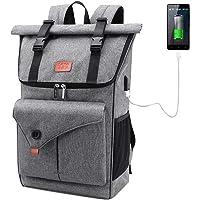Lekesky Laptop Rucksack 17 Zoll Damen Herren Rolltop Rucksack mit USB-Ladebuchse, Diebstahlsicherer Schultasche Daypack…