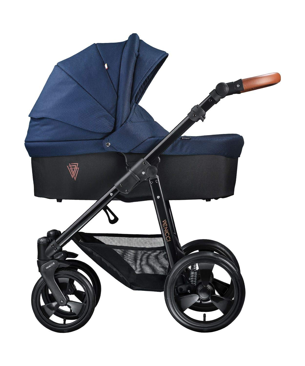 Venicci Gusto 3-in-1 Travel System - Navy - with Carrycot + Car Seat + Changing Bag + Footmuff + Raincover + Mosquito Net + 5-Point Harness and UV 50+ Fabric + Car Seat Adapters + Cup Holder  3 in 1 Travel System with included Group 0+ Car Seat Suitable for your baby from birth onwards 5-point harness to enhance the safety of your child 2