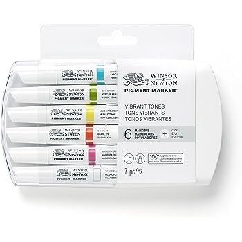 Winsor & Newton 0290046 Pigment Marker (mit hochwertigen, lichtbeständigen Künstlerpigmenten für Farbtiefe und hohe Leuchtkraft - für Grafikdesigns und Illustrationen) 6 Farben Lebendige Töne Set