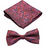 To The Nines Men's Bow Tie and Matching Pocket Square (Red)