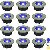 Woodside - Spots de sol à LED solaires - inox - blanc ou bleu - Bleu - Lot de 12