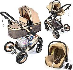 3 in 1 Kinderwagen Bambimo Gold/Braun / Babywanne/Buggy / Sportsitz/Babyschale/Autositz/Aluminium - Kombikinderwagen/Wickeltasche / …