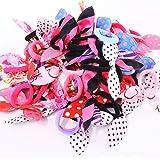 CHESHTA Elastic Rubber and Fabric Bunny Rabbit Ear Headband for Women (Random Colour) -40 Pieces