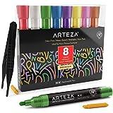 Arteza Rotuladores metalizados de tiza líquida | Set de 8 marcadores de tiza | 8 colores metálicos| Incluye pinzas + 50 etiqu