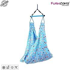 Furncoms 1031 Hanging Baby Cradle Foldable Hammock Jhula Thuni Thottil, Blue