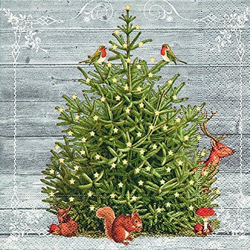 Lunch Servietten Serviette 33 x 33 cm (A special tree) Weihnachtsbaum Kerzen Lichter Weihnachten Winter Schnee Tiere Wald Schneemann Merry Christmas -