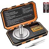 Criacr Báscula Digitales de Precisión, 20g/0.001g Báscula Digital de Bolsillo, Báscula Portátil para Joyería con Pesas y Pinz