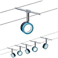 Paulmann 3982 Système de câbles BluLED 5x4W, Noir/Bleu/Chrome, 230/12V, Synthétique