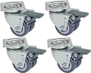 HRB Rollen mit Bremse 50 mm (4er Set Lenkrollen mit Bremse) rasengeeignete Strandkorbrollen mit Bremse Tragkraft 400 kg nutzbar als Rollen für Möbel, Palettenmöbel oder als Transportrolle