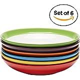 Assiettes à Salade/pâtes en céramique Haut de Gamme, Ensemble de 6 Assiettes colorées, 24 cm