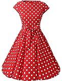 VKStar® Vintage 50s Rockabilly Kleid Damen Polka Dots Audrey Hepburn Kleid Cocktailkleid mit Tupfen Swing Kleid