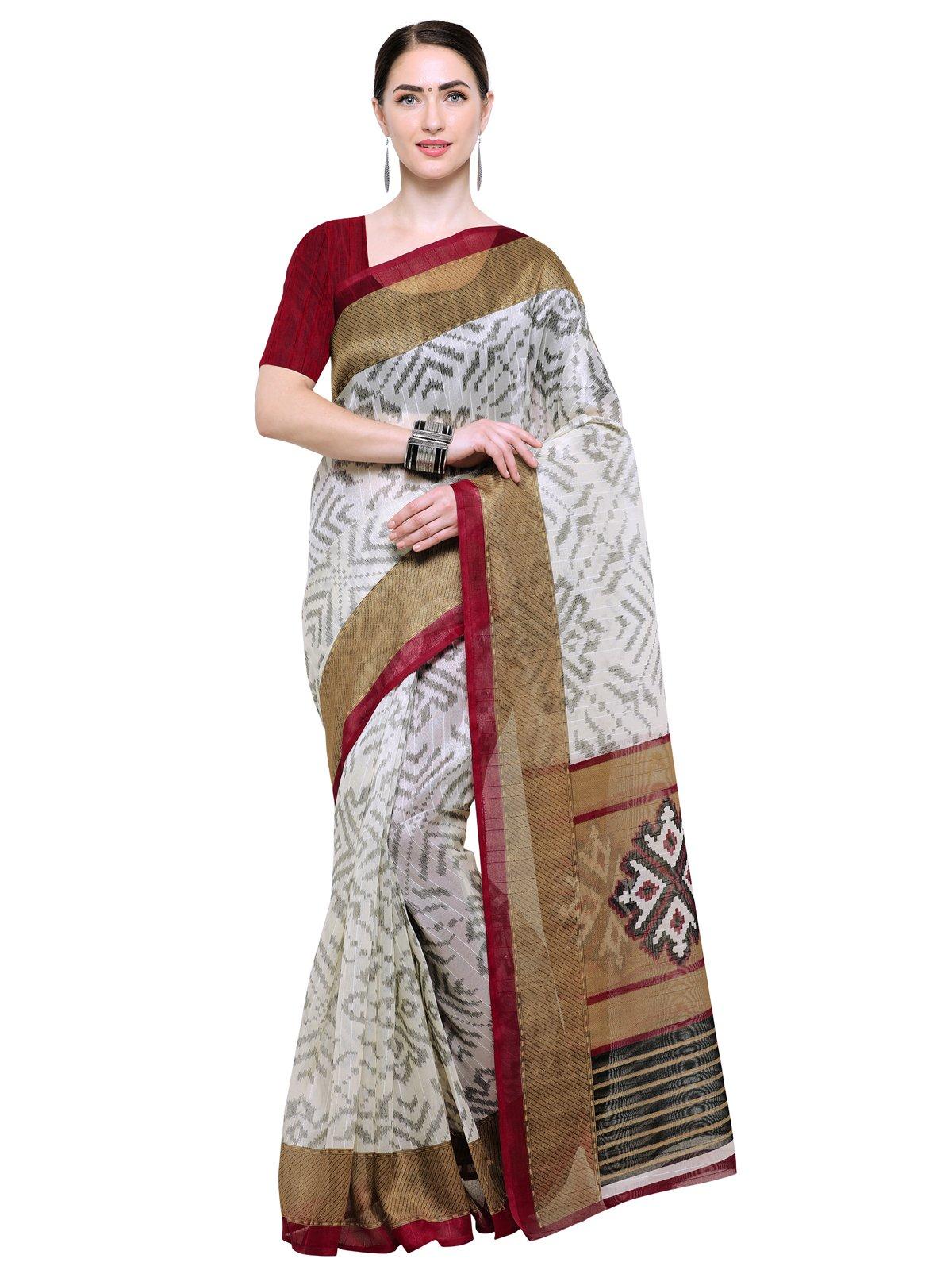 Kanchnar Women's Cream Art Silk Ikat Print Saree with Blouse