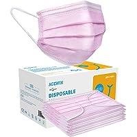 Acewin 3 Lagig Einwegmasken Kinder CE Zertifizierte 50/100 Stück Mund Nasen Maske Mädchen Kindermasken, Rosa/Blau/Bunt