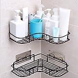 YUNKE Duschförvaring, badrumshyllor, duschhylla med rostfritt stål självhäftande klistermärke för kök och badrumstillbehör –