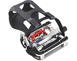 Transplant Spd Pedal - Hybrid Pedal with Clips and Straps SPD Bike Pedals Suitable for Indoor Exercise Bike Spin Bike and All