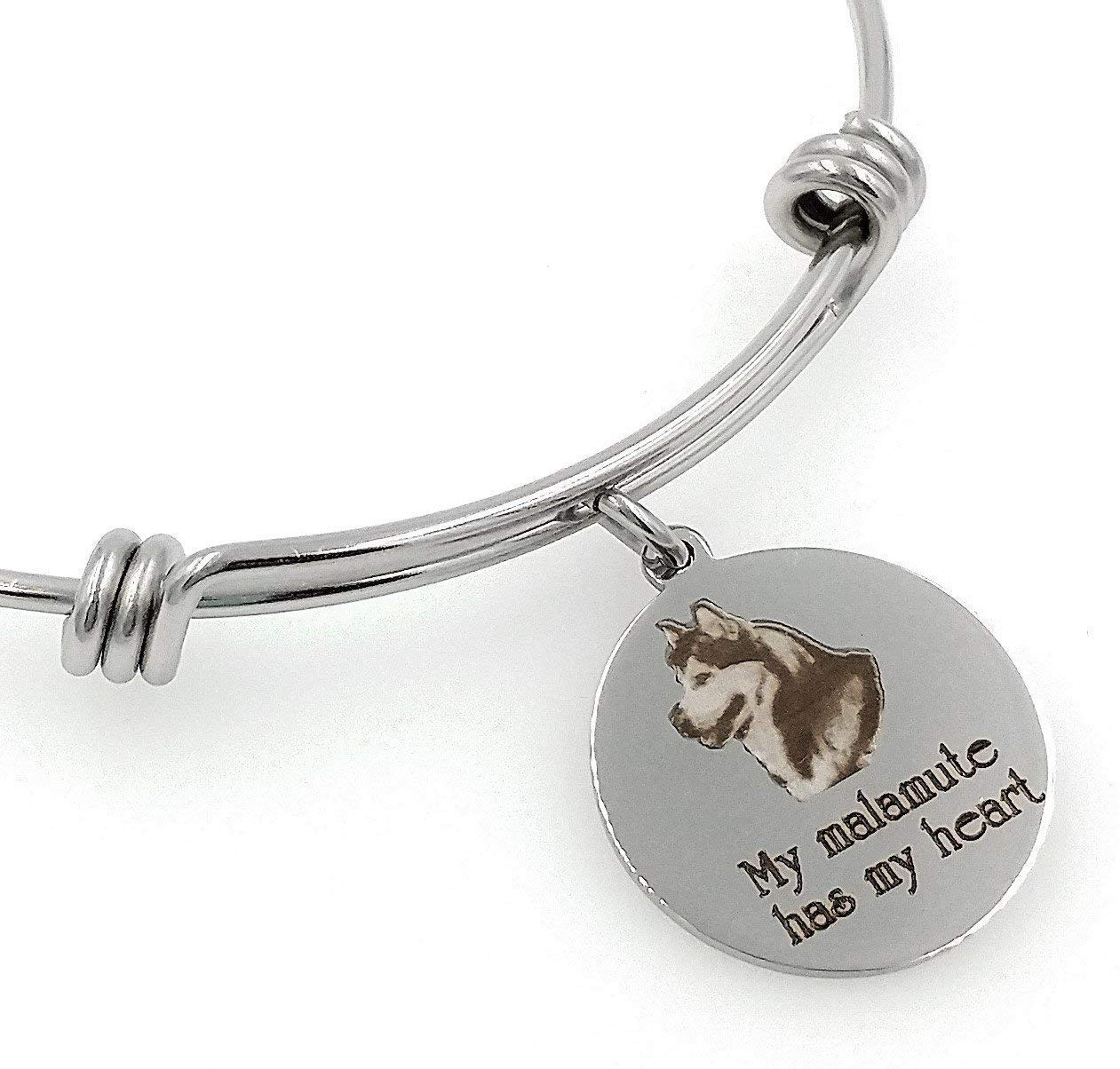 My Malamute, Alaskan Malamute Has My Heart Engraved Expandable Bangle Bracelet