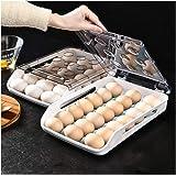 QAVILFLY Ägghållare för kylskåp, äggbehållare 21 gallerlåda typ ägg förvaringsbox, miljövänligt PP-material flera lager kyckl