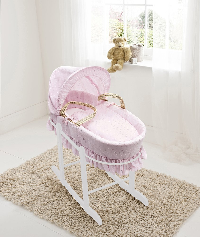 Pink Broderie Anglaise Palm Moses Basket & Deluxe White Rocking Stand Elegant Baby Suitable from newborn for up to 9kg, this Moses Basket uses Easy-care Poly Cotton with a soft padding surround Suitable from newborn to 9 months It also includes a comfortable mattress and an adjustable hood perfect to create a cosy sleeping space for your precious little one 1