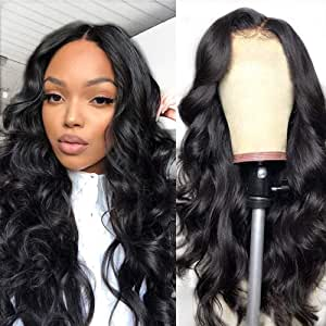 Parrucca umani naturale wavy lunghi lace front wig human hair wigs body wave capelli veri al 100% umani brasiliani vergini neri 14 inch/35cm