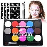 URAQT schminkset, 15 kleuren schminkpalet met 2 borstels 32 stencils, wasbare gezichtsverf Veilige lichaamsverf voor volwasse