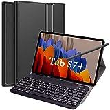 Funda con teclado para Samsung Tab S7+/Tab S7 Plus de 12,5 pulgadas, teclado Bluetooth magnético desmontable con funda para S