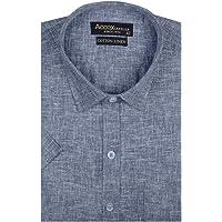 ACCOX Men's Half Sleeves Formal Regular Fit Cotton Linen Shirt(GC311)
