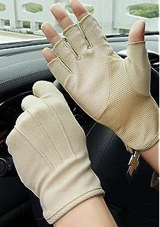 Baumwolle zum Autofahren UV-Schutz fingerlos Jisen Damen Sonnenschutz-Handschuhe Angeln