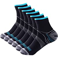 6 Pairs Johnda Compression Socks for Men and Women, Plantar Fasciitis Arch Support Foot Relieve Pain Supports Heel