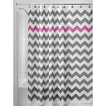 InterDesign Chevron Shower Curtain For The Bathroom Fabric Curtains Made Of Polyester Grey Purple Amazoncouk Kitchen Home